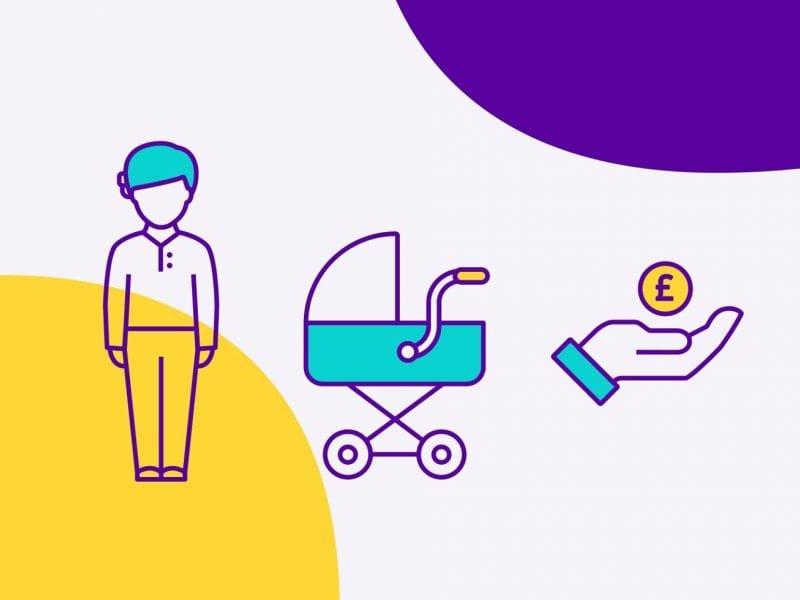 Scope branding icons - person, pram and a hand with pound sign