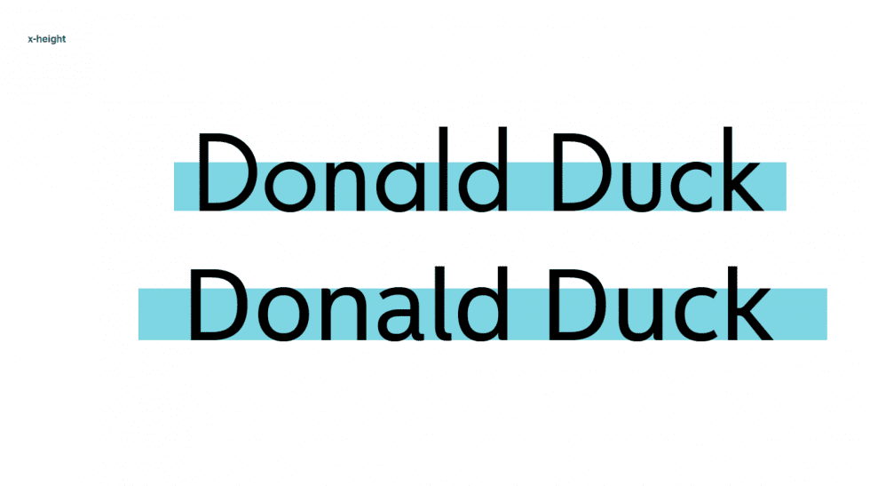 Donald Duck in two fonts