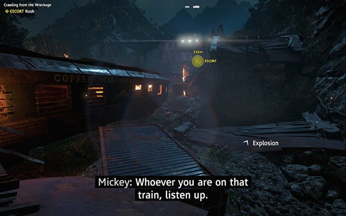 Screenshot of video game Far Cry New Dawn with directional subtitling