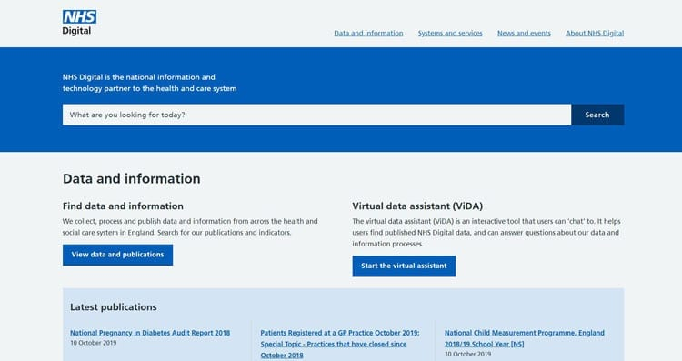 Screenshot of the new NHS Digital website