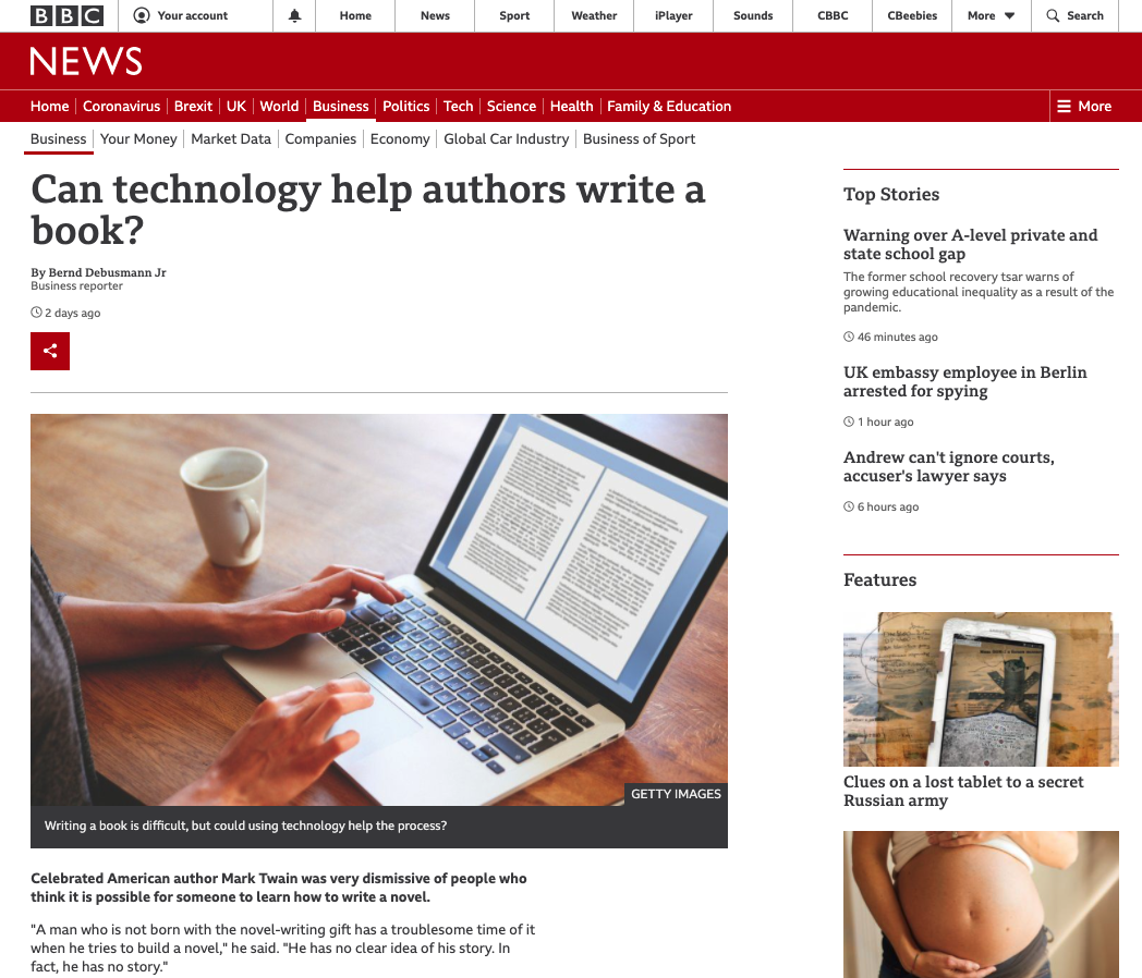 Screenshot of BBC webpage as an example of content with a decorative image