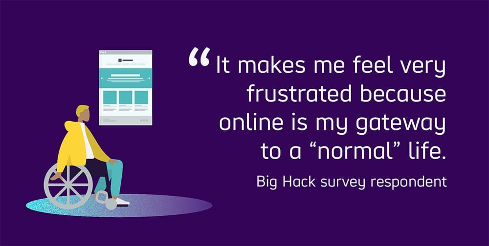 """Quoted text reads: """"It makes me feel very frustrated because online is my gateway to a """"normal"""" life."""" featuring a quote from a Big Hack survey respondent."""
