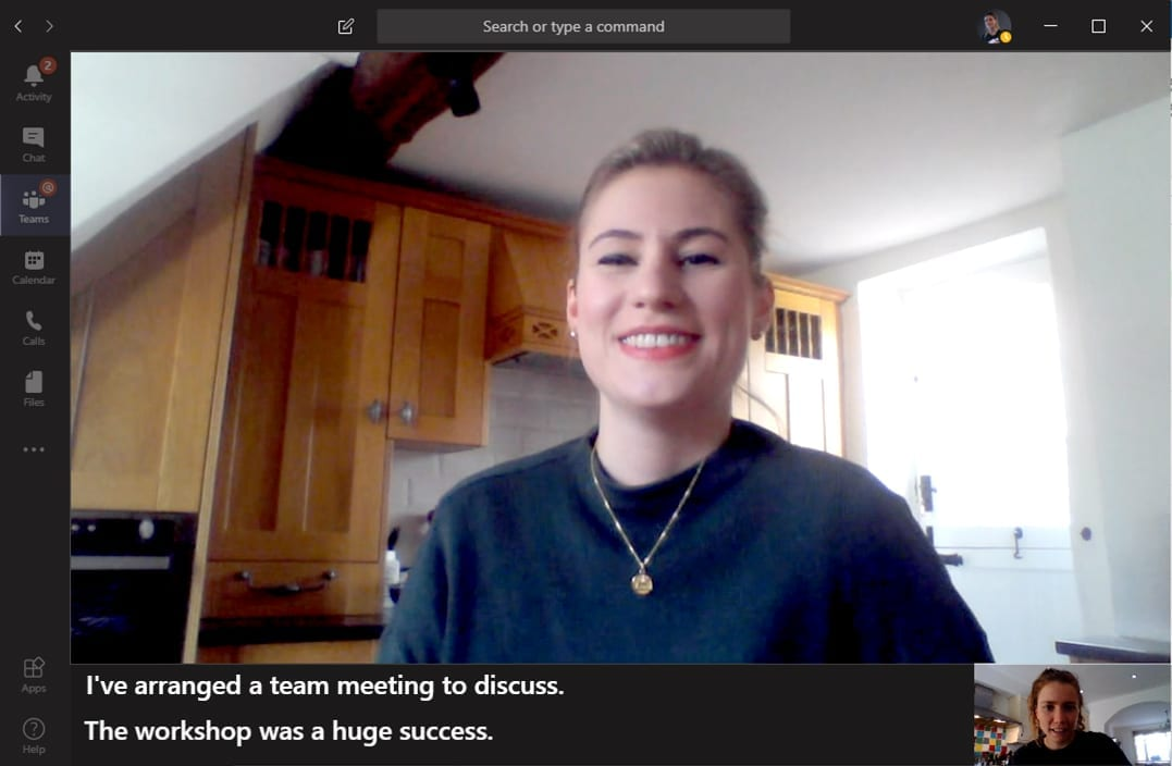 Krissie using Live Captions on Microsoft Teams