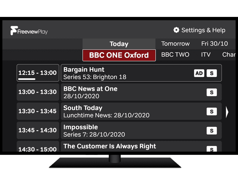Accessible TV Guide 'Home' screen showing BBC one programmes with audio description and subtitles