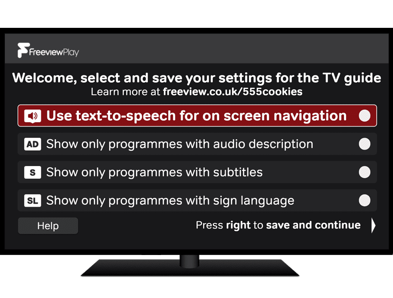 Freeview Accessible TV Guide 'Welcome' screen interface on TV