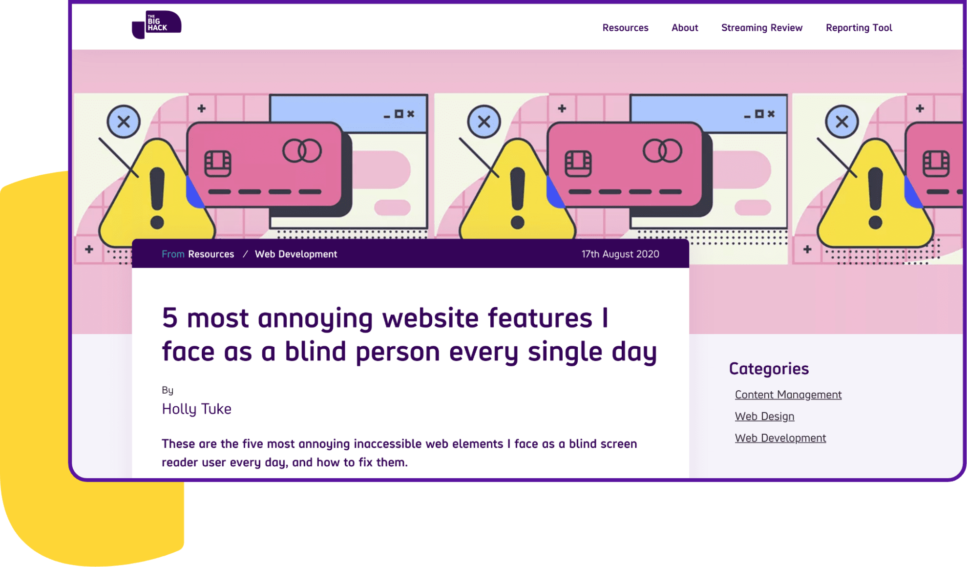 Screenshot of article titled: 5 most annoying website features I face as a blind person every single day
