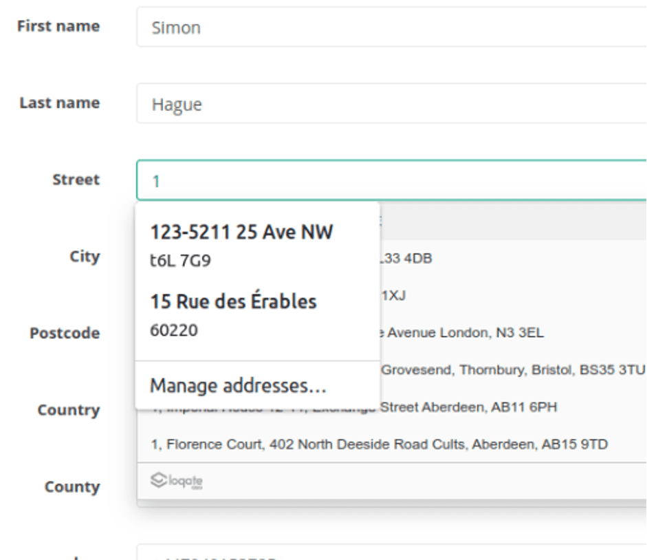 Screenshot of a web form shows address form fields autocompleted by the address lookup tool, and the browser. The options are confusing and the top autocomplete funciton obscures the autocomplete function below it, making it unusable.