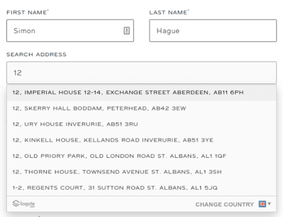 Half completed web form shows a list of addresses for the user to choose from in the search address field.