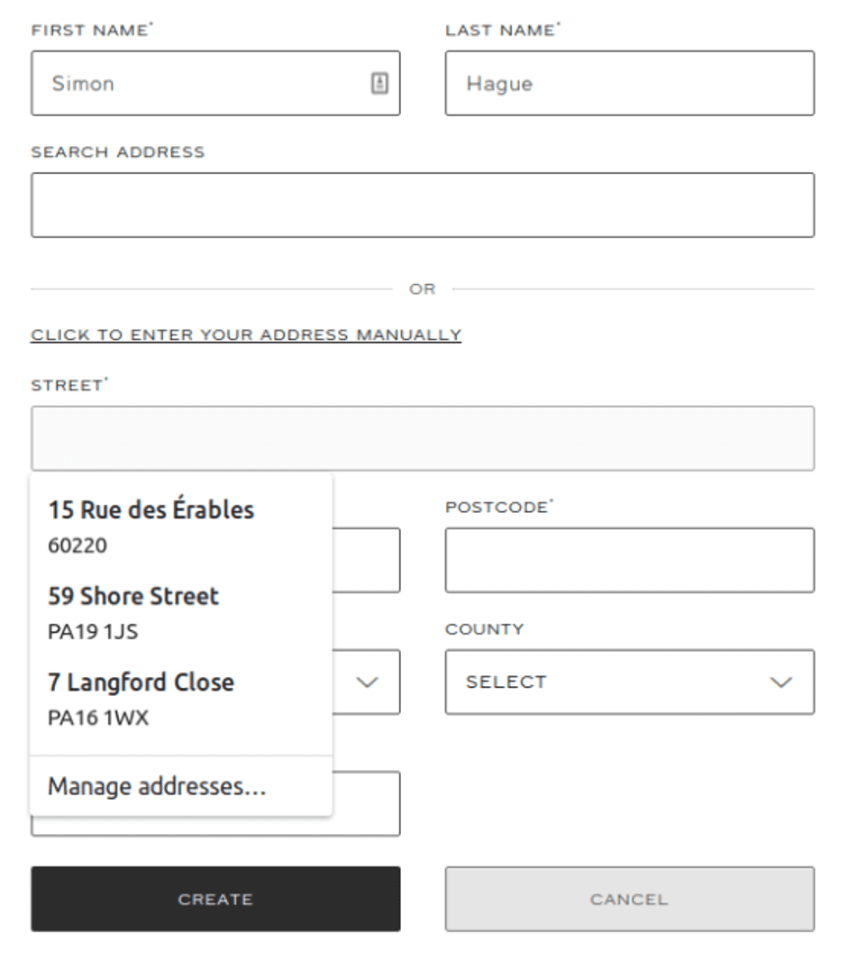 Web form shows the two routes a user can take to enter their address, either using Loqate or manually with browser autocomplete functionality.