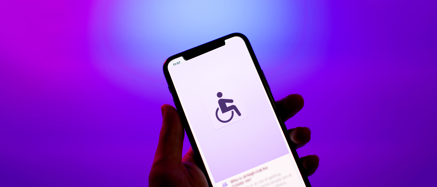 Phone showing an icon of a wheelchair user