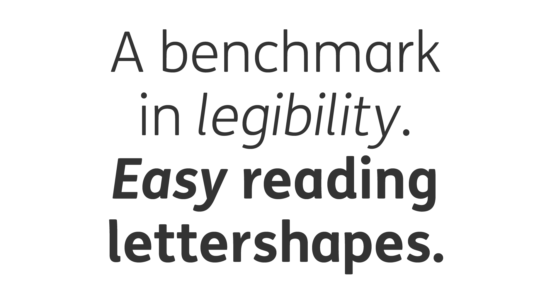 """""""A benchmark in legibility. Easy reading letter shapes."""" text in different FS Me font styles and weights."""