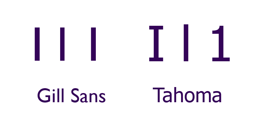 Comparing Upper case 'i', lower case 'L' and 1 in Gill Sans and Tahoma fonts for readability.